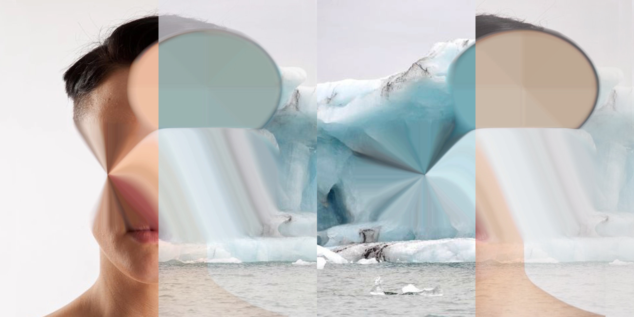 Video still from Becoming Illegible (expanding) showing a woman's face that has been blown up until it becomes a flat circle, and a glacier image treated the same way.