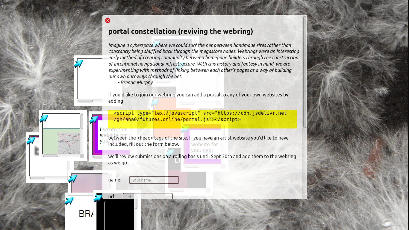 Webring project application form by Sarah Friend, mycelial network background with a modal explaining how to install the webring